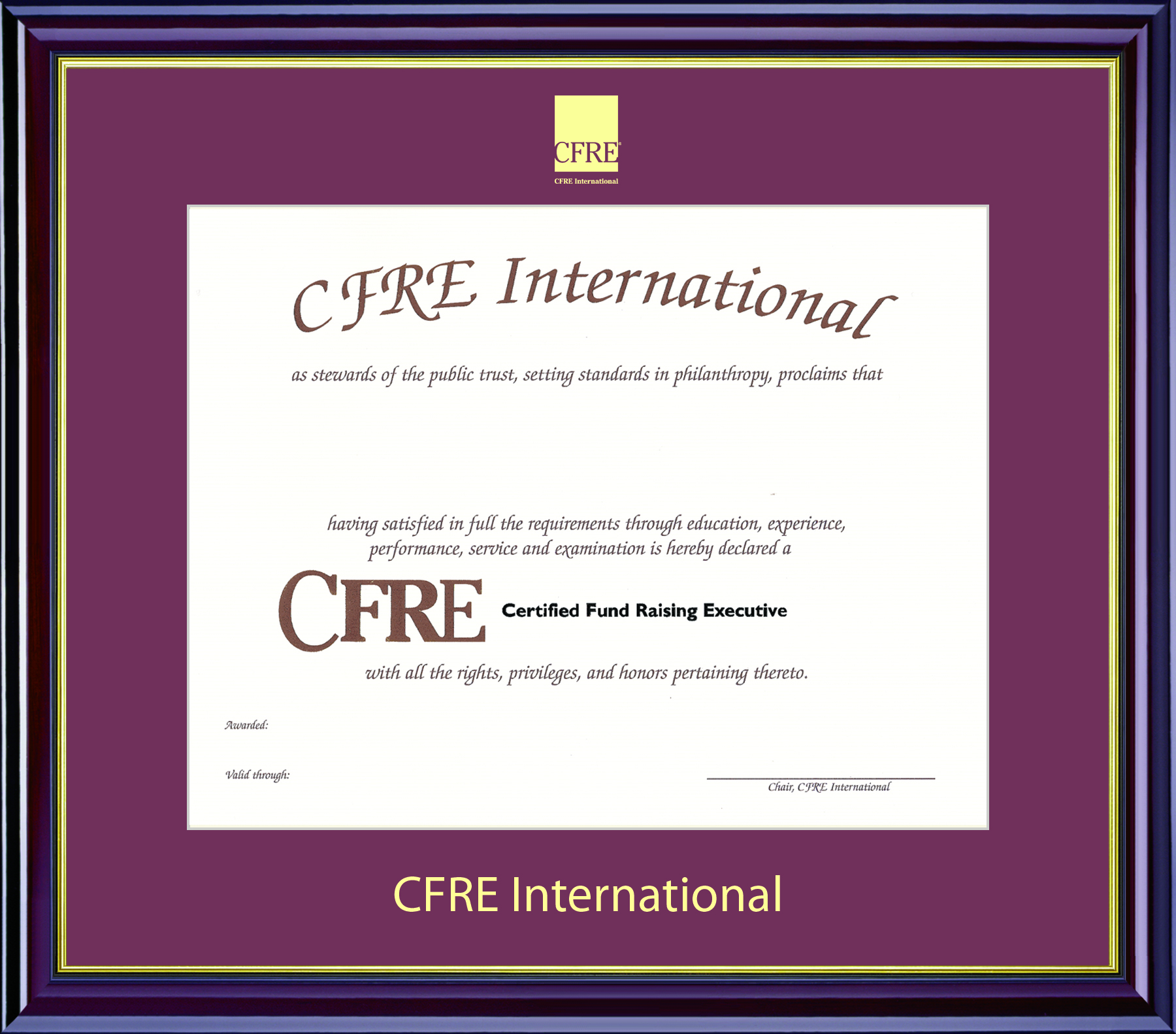 Displaying Your Certificate Cfre International